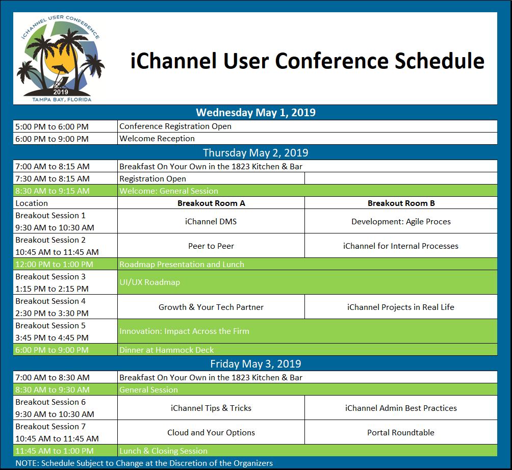 iCUC2019 Agenda for site